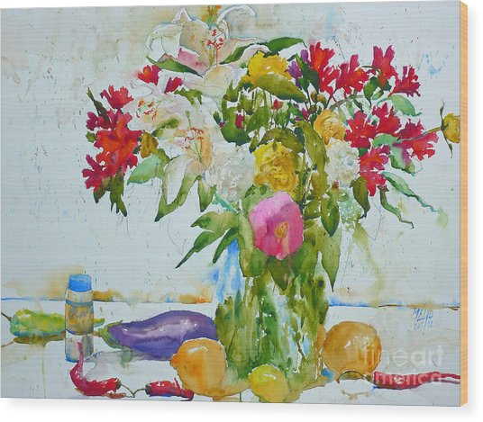Lilies And Red Peppers Wood Print by Andre MEHU