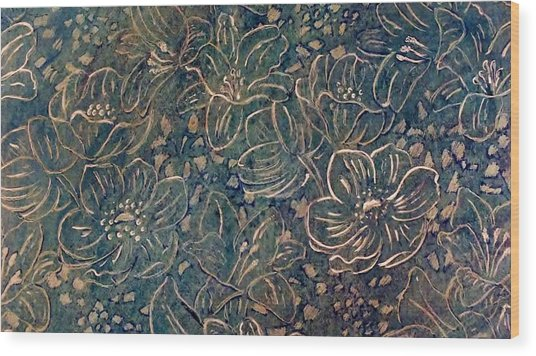 Linear Floral Wood Print by Emma Manners