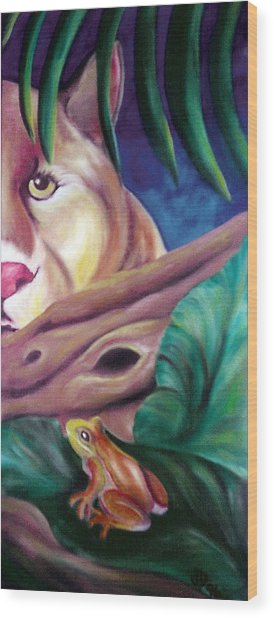 Lioness And Frog Wood Print by Juliana Dube