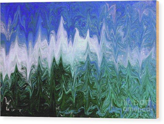 Liquid Green Splash Wood Print
