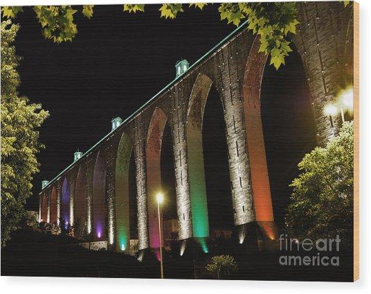 Lisbon Historic Aqueduct By Night Wood Print