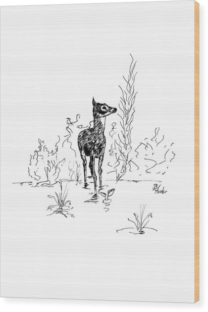 Little Fawn Wood Print