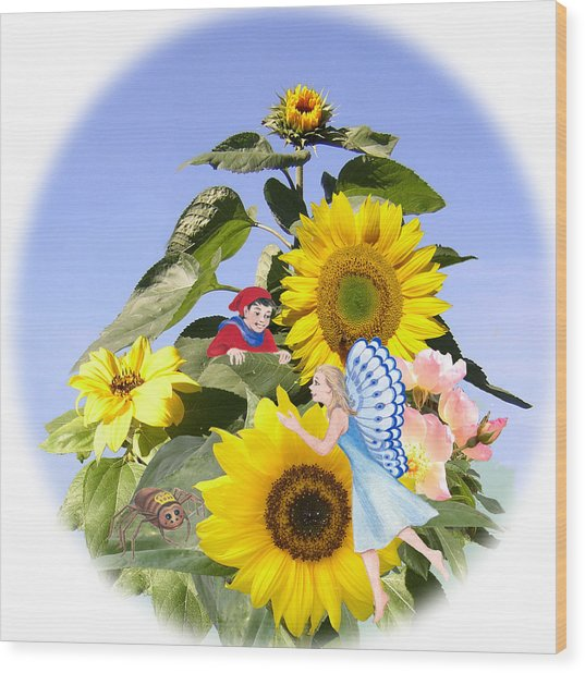 Little Folk Among The Sunflowers Wood Print by Maureen Carter