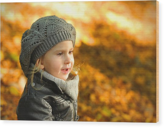 Little Girl In Autumn Leaves Scenery At Sunset Wood Print by Waldek Dabrowski