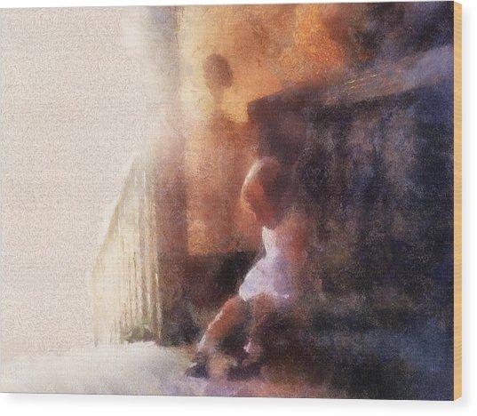 Little Girl Thinking Wood Print