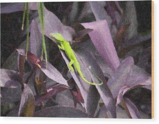 Little Green Lizard Wood Print