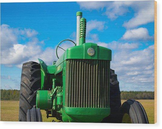 Little Green Tractor Wood Print