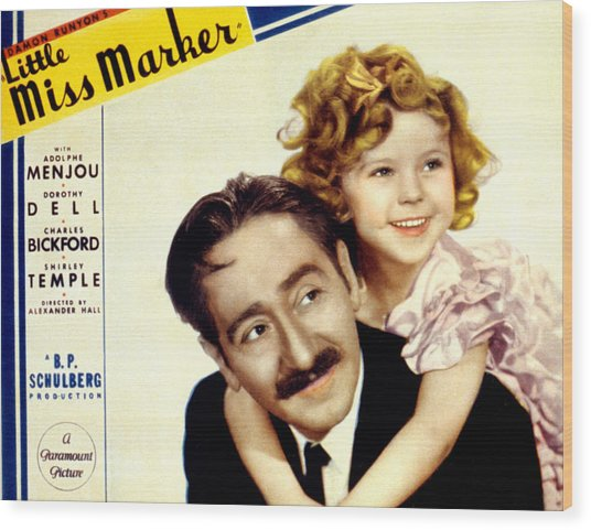 Little Miss Marker, Adolphe Menjou Wood Print by Everett