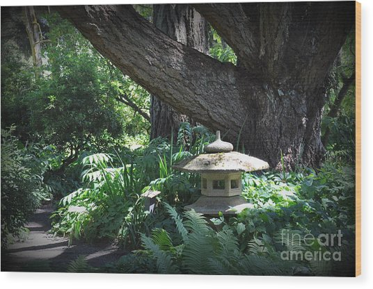 Little Pagoda Under The Big Tree Wood Print by Tanya  Searcy