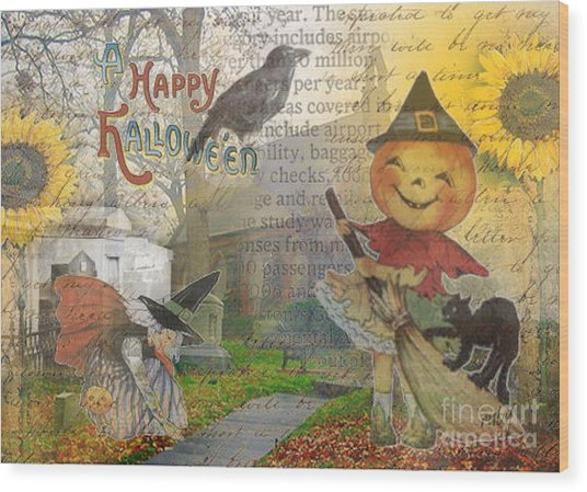 Little Pumpkin Girl Wood Print