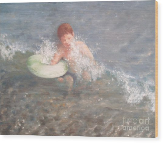 Little Swimmer Wood Print