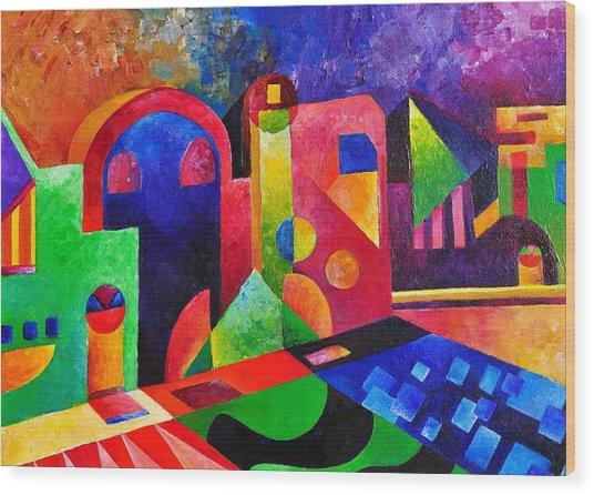 Little Village By Sandralira Wood Print