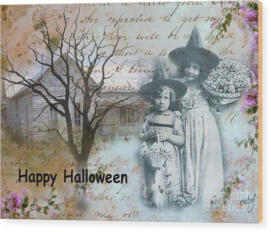 Little Witches Blue Wood Print