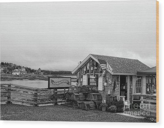 Lobster House Bw Wood Print