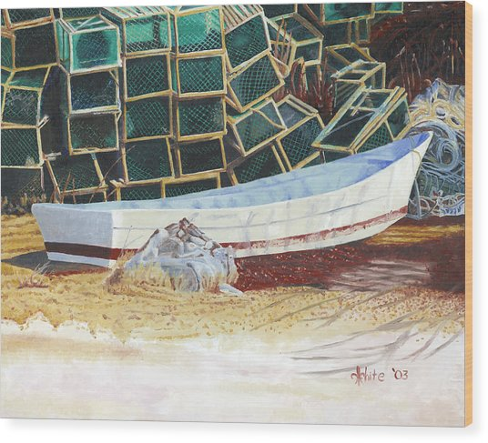Lobster Traps And Dory Wood Print