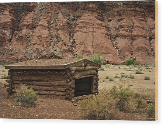 Log Cabin In The Desert Wood Print