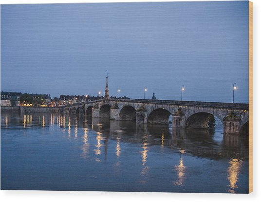 Loire River By Night Wood Print