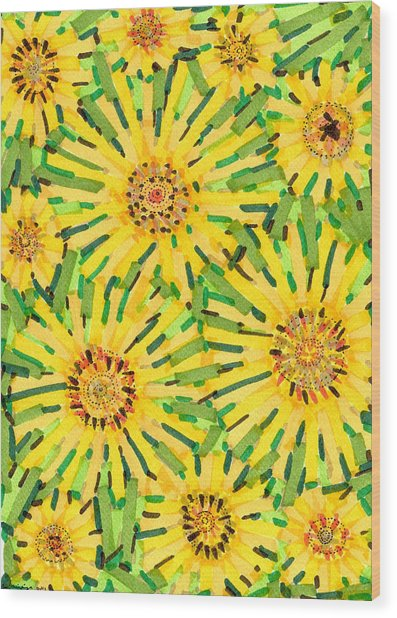 Loire Sunflowers Two Wood Print by Jason Messinger