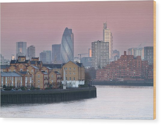 London City View Down Thames Wood Print by SarahB Photography