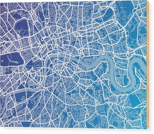 London England Street Map Wood Print