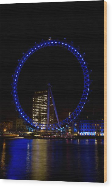 London Eye And River Thames View Wood Print