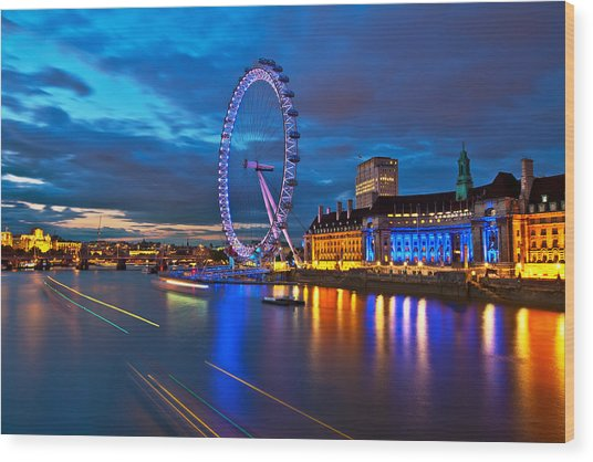 london Eye Nightscape Wood Print by Arthit Somsakul