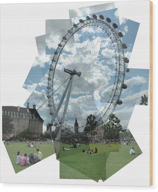 London Eye Panograph Wood Print by George Crawford