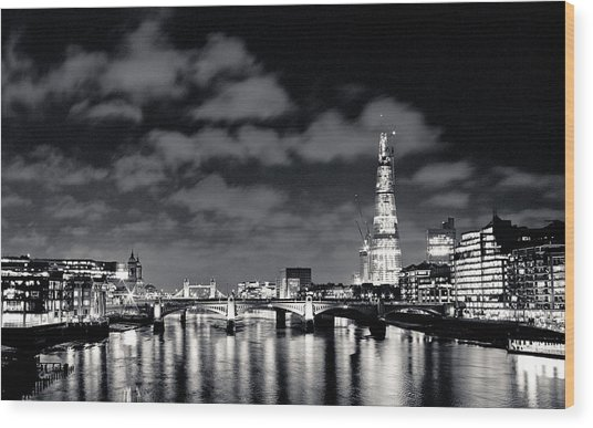 London Lights At Night Wood Print