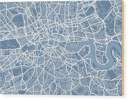 London Map Art Steel Blue Wood Print