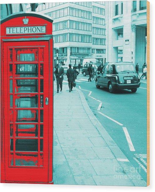 London Phone Booth Wood Print