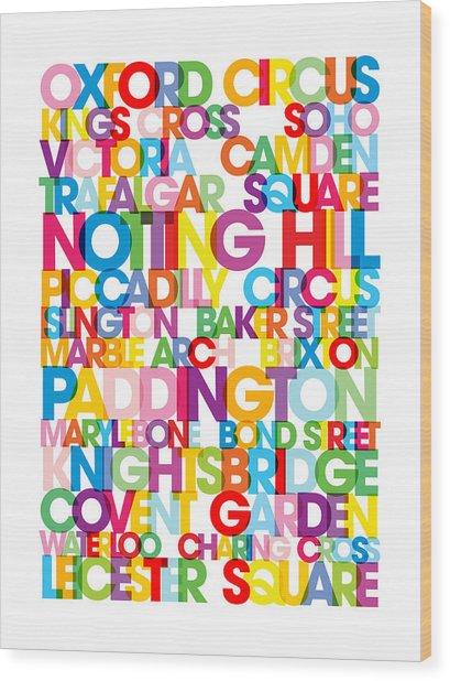 London Text Bus Blind Wood Print by Michael Tompsett