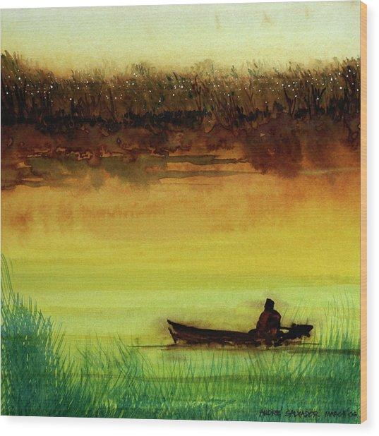 Lone Boatman Wood Print