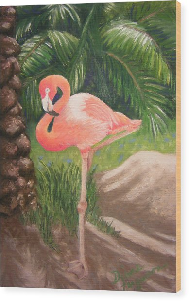 Lone Flamingo Wood Print