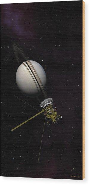 Lone Sentinel At Saturn  Wood Print