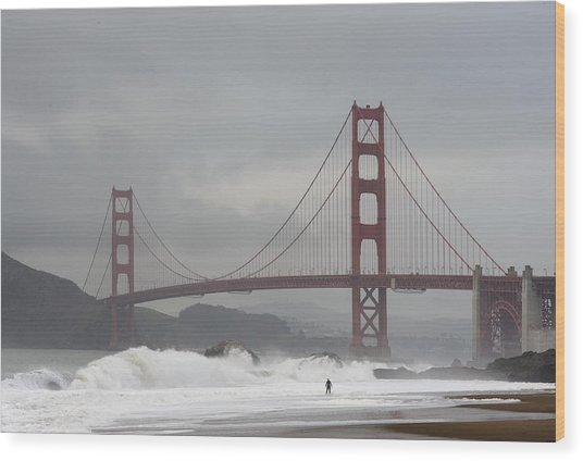Lone Surfer Wood Print by Howard Knauer