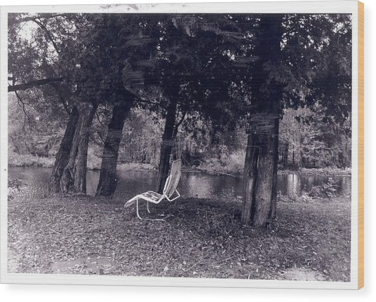 Lonely Chair Wood Print by Cecelia Taylor-Hunt