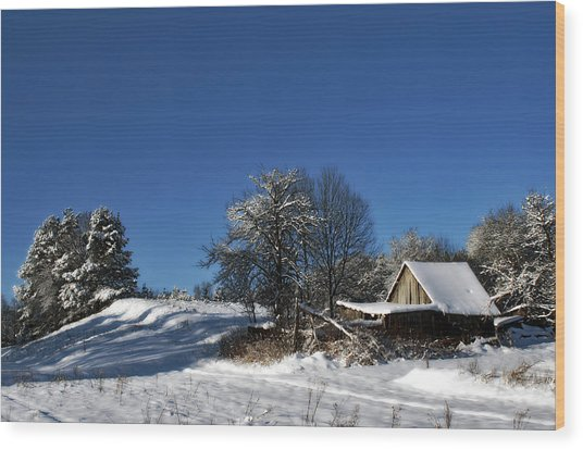 Lonely Rural Log Hut Brought By Snow Wood Print by Aleksandr Volkov