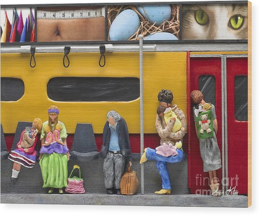 Lonely Travelers - Crop Of Original - To See Complete Artwork Click View All Wood Print