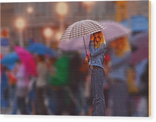 Lonelyredhead In The Rain Wood Print by Don Wolf