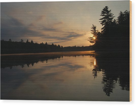Long Pond Sunset Wood Print