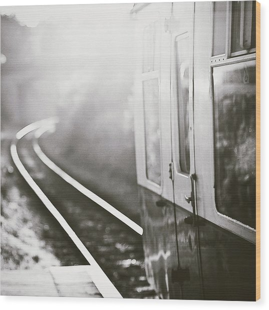 Long Train Running Wood Print