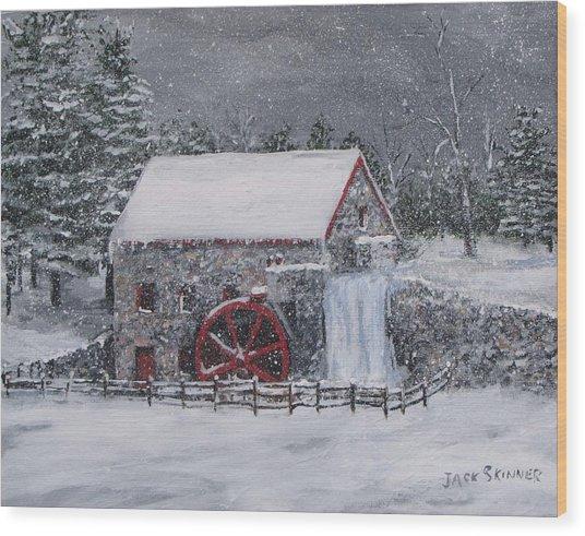 Longfellow's Grist Mill In Winter Wood Print