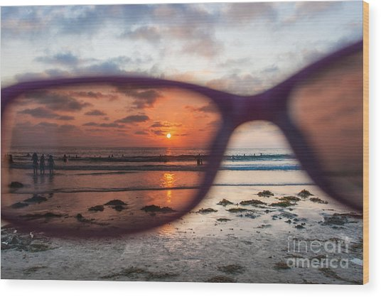 Looking At Life Through Rose Colored Glasses Wood Print