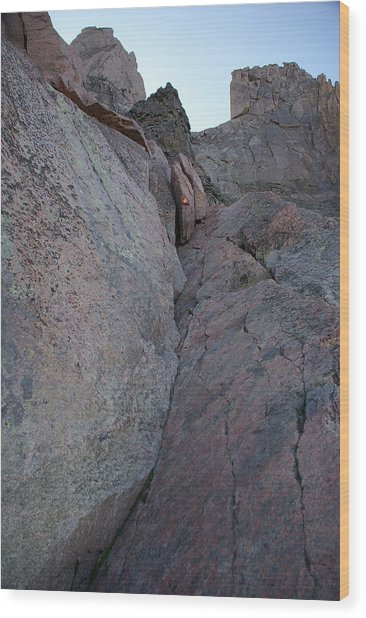 Looking Up The Ledges On Longs Peak Wood Print by Cynthia Cox Cottam