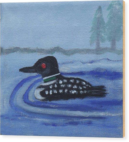 Loon On Lake Winnipeaukee Wood Print
