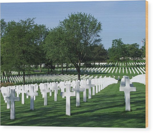 Lorraine Wwii American Cemetery St Avold France Wood Print