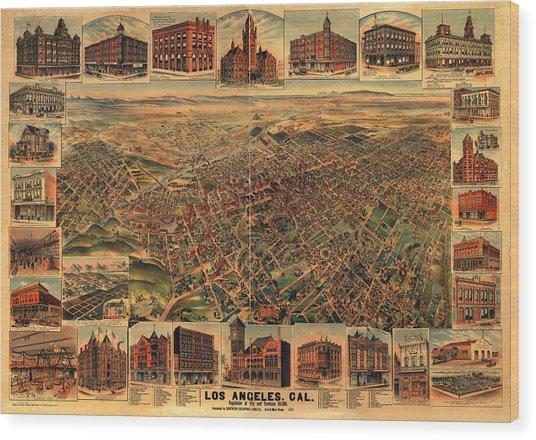 Los Angeles California 1891 Wood Print by Donna Leach