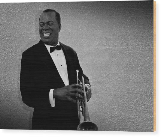 Louis Armstrong Bw Wood Print