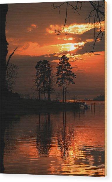 Lousiana Sunset Wood Print