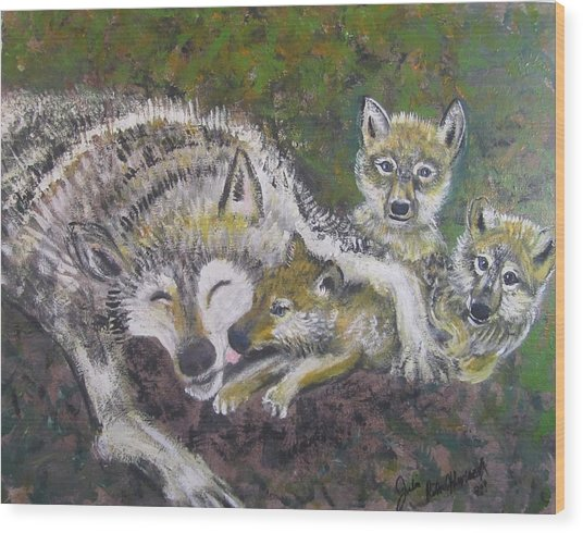 Love Cubs Wood Print by Julia Rita Theriault